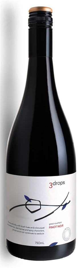 3 Drops Pinot Noir 2017 (12 x 750mL), Great Southern, WA.