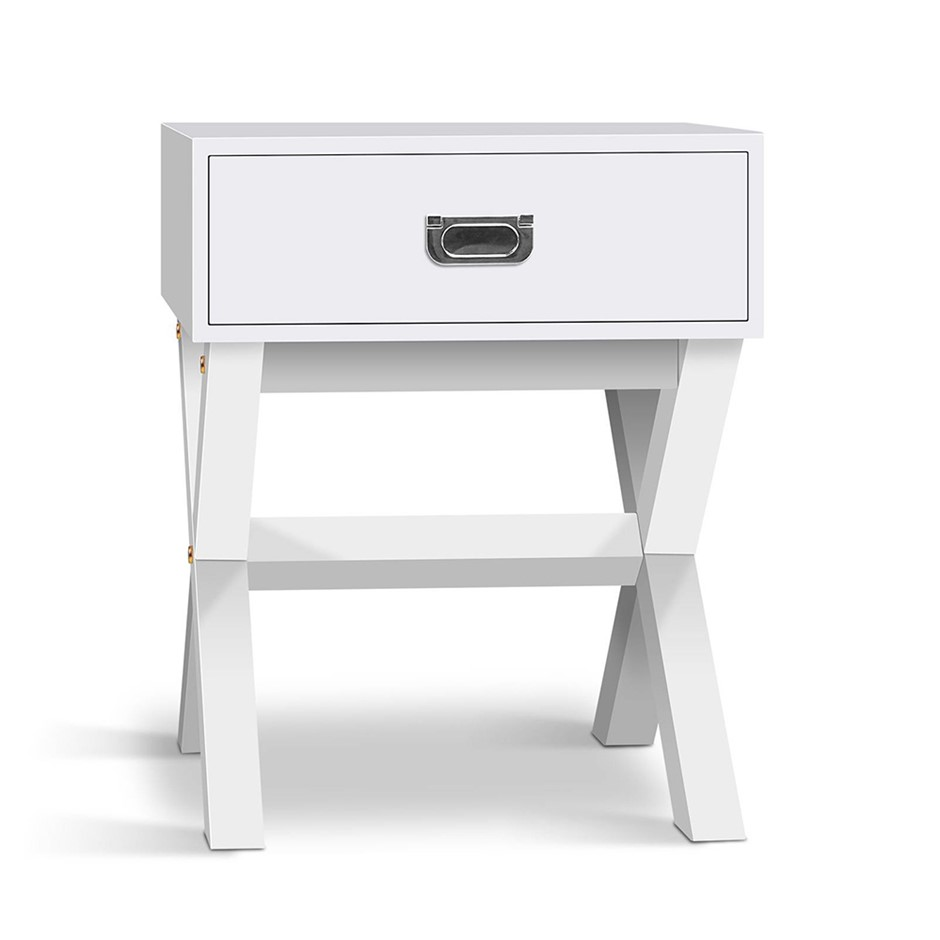 Artiss Timber Bedside Table - White