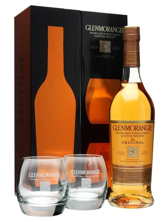 Glenmorangie 10YO + 2 Branded Whisky Glasses Gift Set