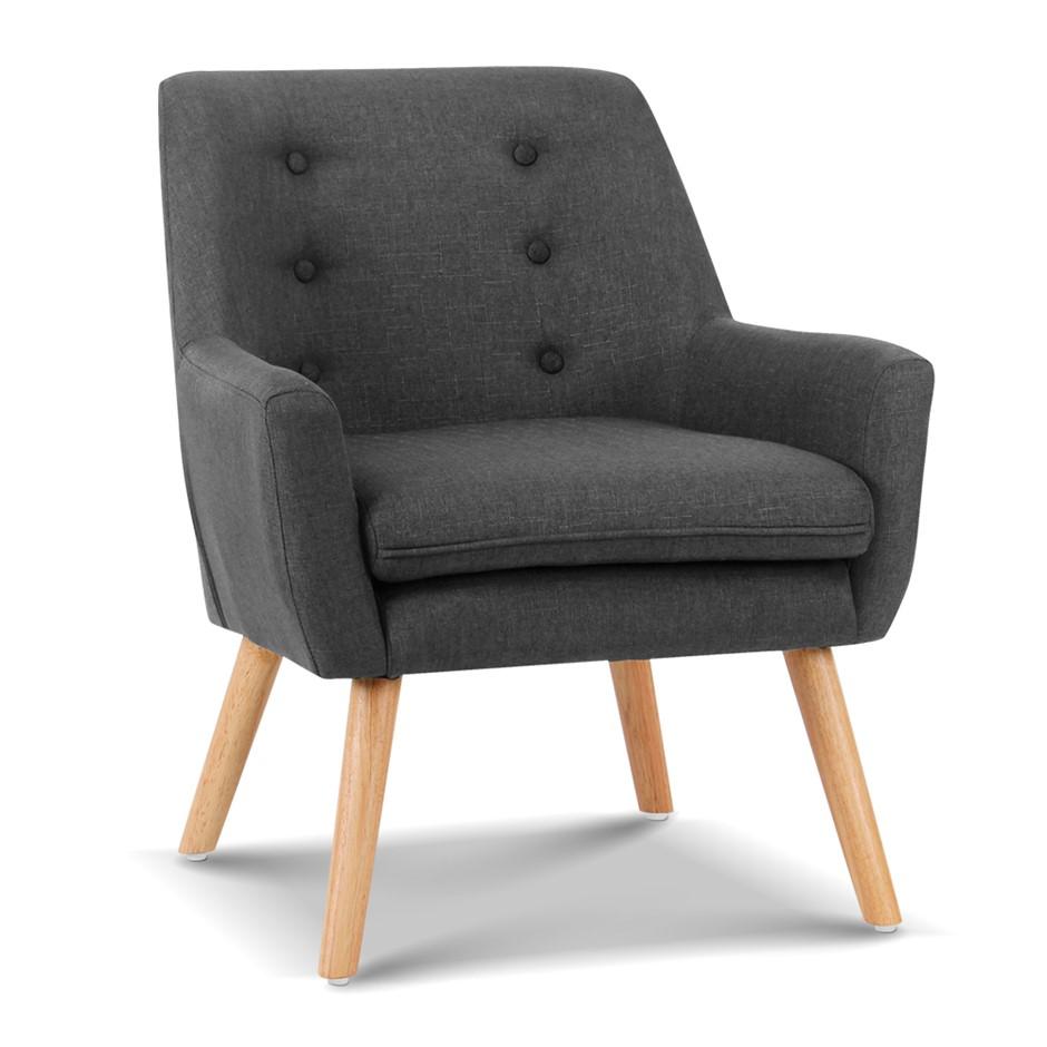 Artiss Fabric Dining Armchair - Charcoal
