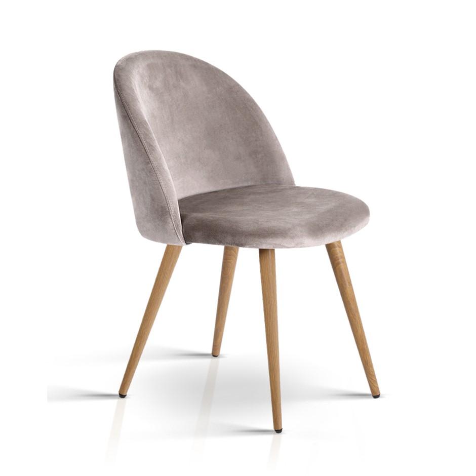 Artiss Set of Two Velvet Modern Dining Chair - Light Grey