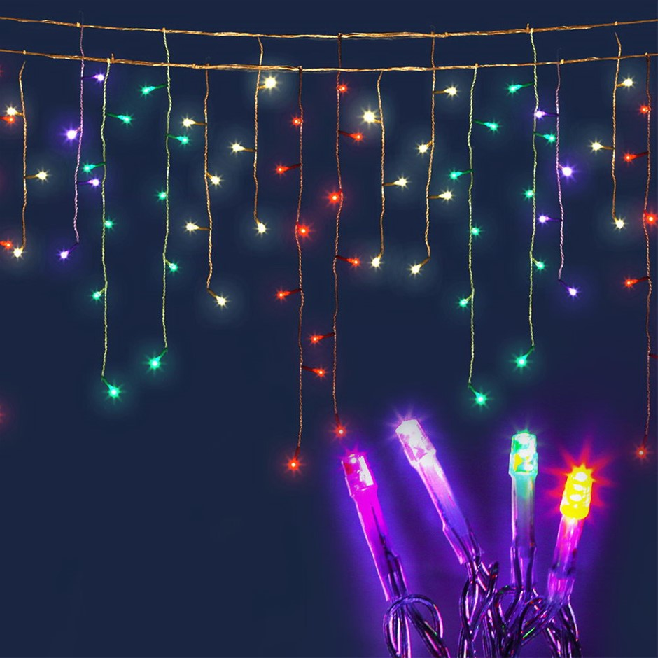 Jingle Jollys 500 Icicle Lights - Multi Colour