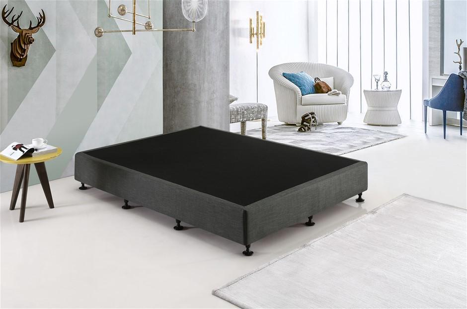 Palermo King Single Ensemble Bed Base Platinum Graphite Linen Fabric