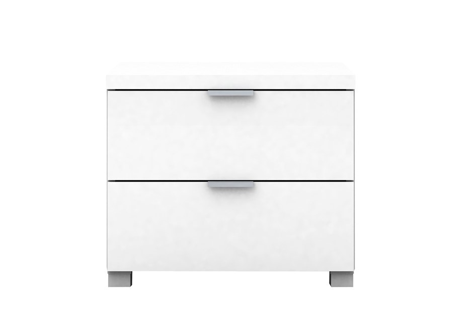 Kyana High Gloss 2 Drawer Side Table - White
