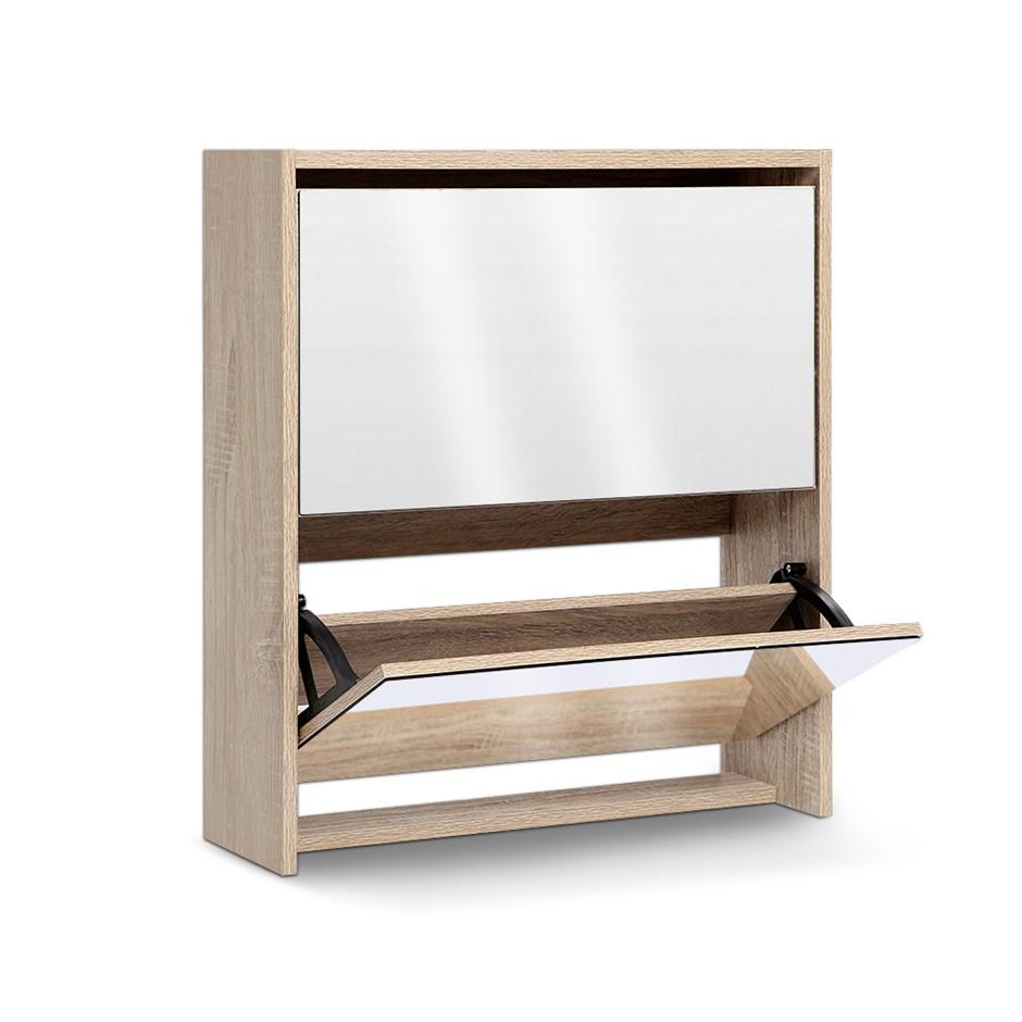 Artiss Mirrored Wooden Shoe Cabinet Rack