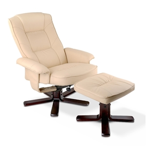 PU Leather Wood Armchair Recliner - Beig