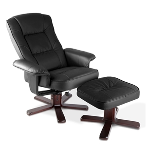 PU Leather Wood Armchair Recliner - Blac