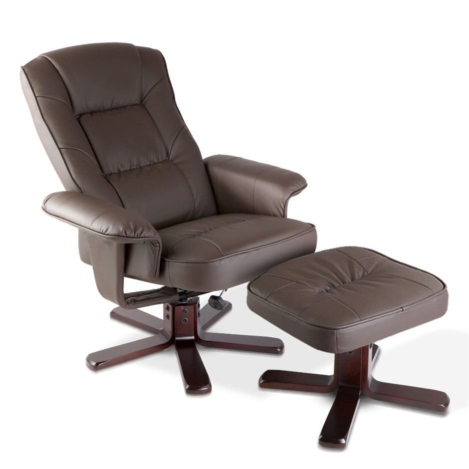 PU Leather Wood Armchair Recliner - Chocolate