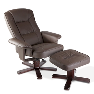 PU Leather Wood Armchair Recliner - Choc