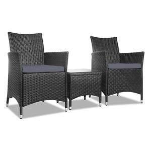 Buy Gardeon 3 Piece Wicker Outdoor Furniture Set Black