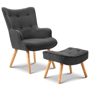 Artiss Accent Armchair and Ottoman - Cha