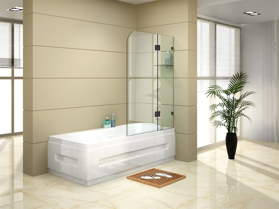 900 x 1450mm Frameless Bath Panel 10mm Glass Shower