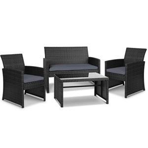 Gardeon Outdoor 4 Piece Rattan Set - Bla