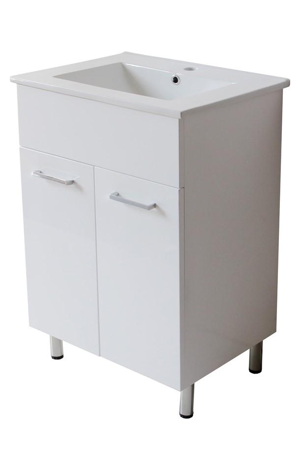 White Floor Vanity cabinet only - 60 x 46 cm