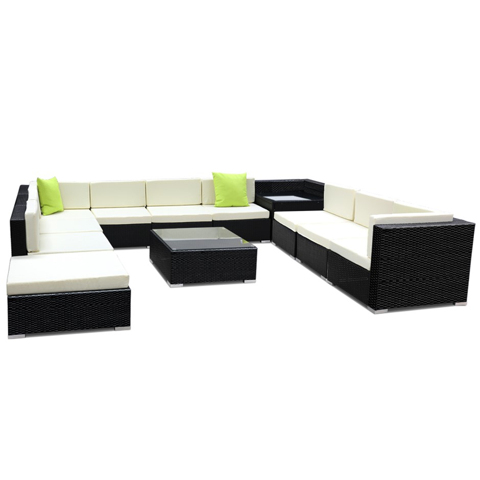 Gardeon 12 Piece Outdoor Furniture Set Wicker Sofa Lounge