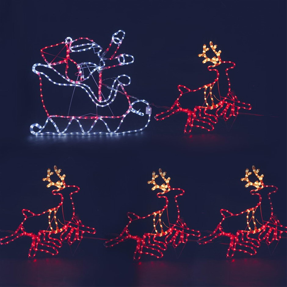 Jingle Jollys Christmas LED Motif Lights - Santa and Reindeer