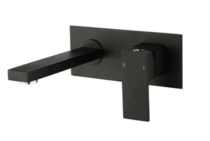 Square Black Wall Bath/Basin Mixer Tap S