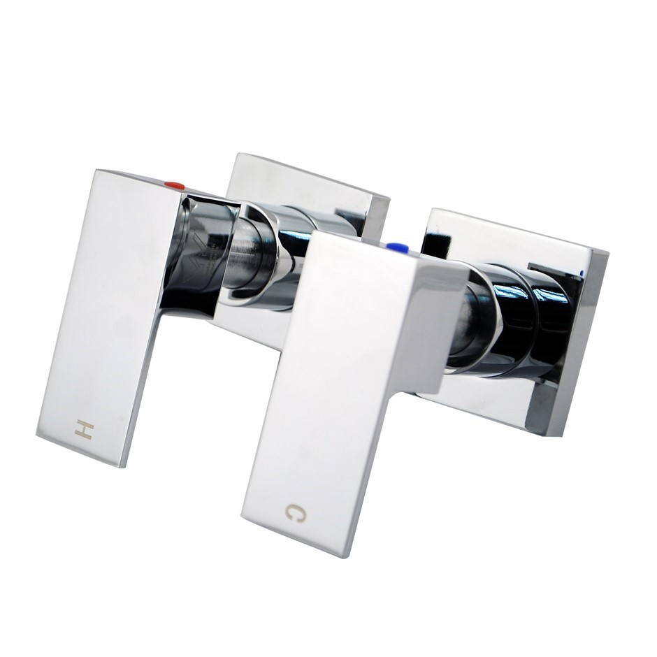 Square Chrome Wall Top Assembles 1/4 Turn Shower Taps, Watermark