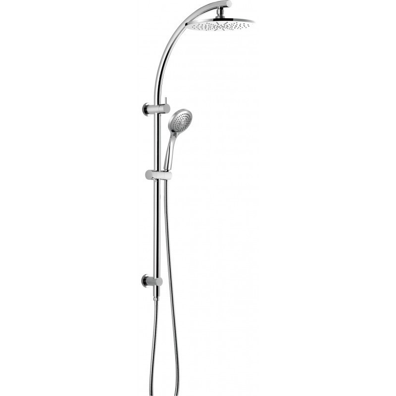 200mm Round Chrome Twin Rainfall Shower Station Handheld Spray Head Set