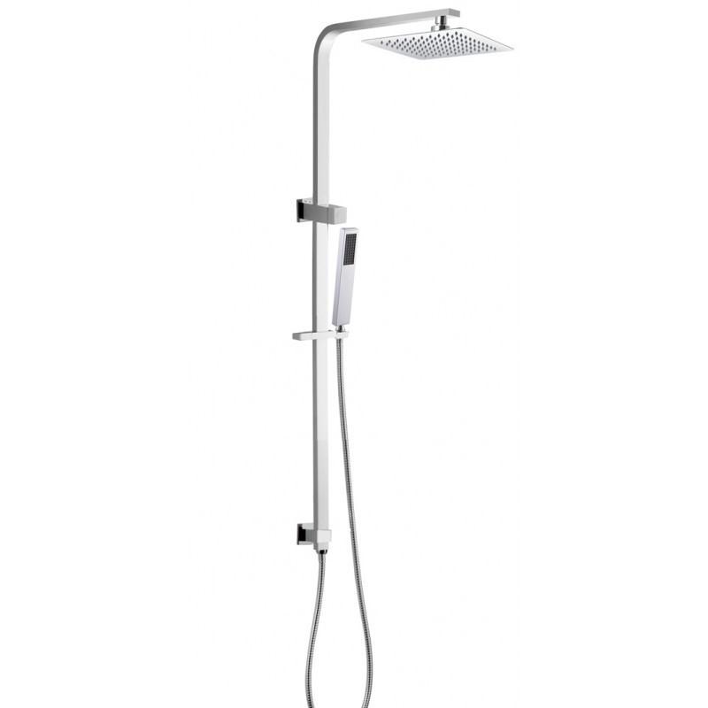 "8"" Square Chrome Shower Station Rain Head Handheld Set"