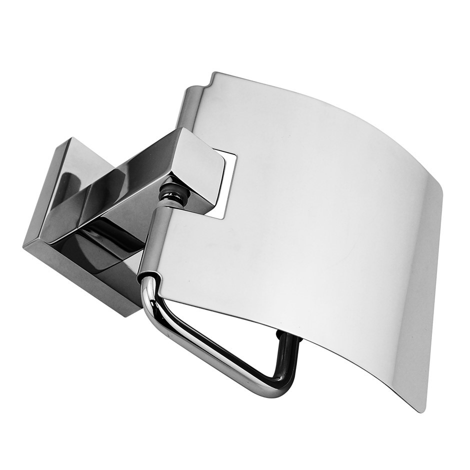 Square Chrome 304 Stainless Steel Toilet Roll Paper/Tissue Hook With Cover