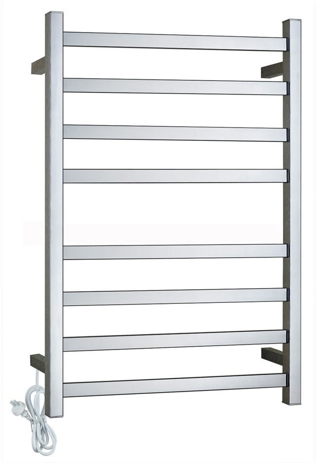 Electric Square Chrome Heated Towel Rack Rail 8 Bar Warmer Stainless Steel