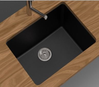 Single Bowl,Black Granite Quartz Stone Kitchen Sink (Round Edges)