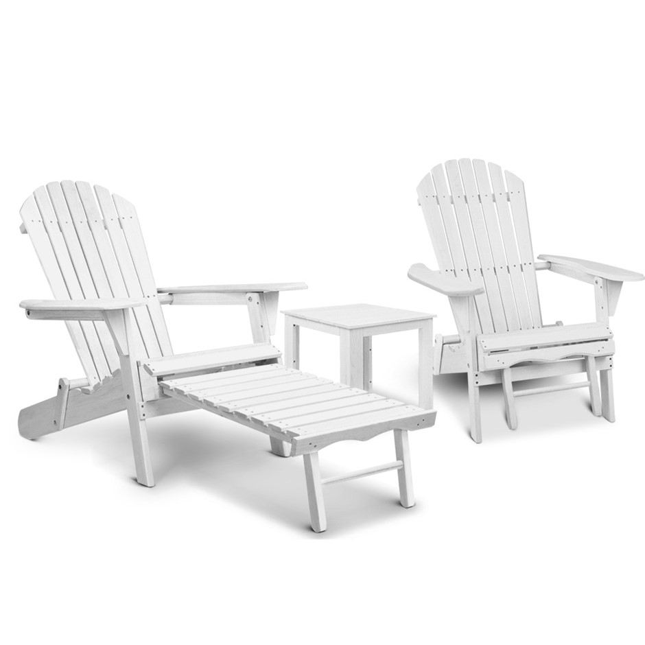Gardeon 3 Piece Outdoor Adirondack Lounge Set - White