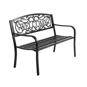 Gardeon Cast Iron Welcome Garden Bench -