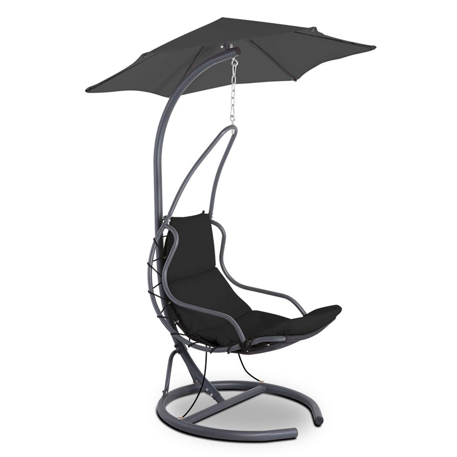 Gardeon Hanging Chair with Umbrella Black