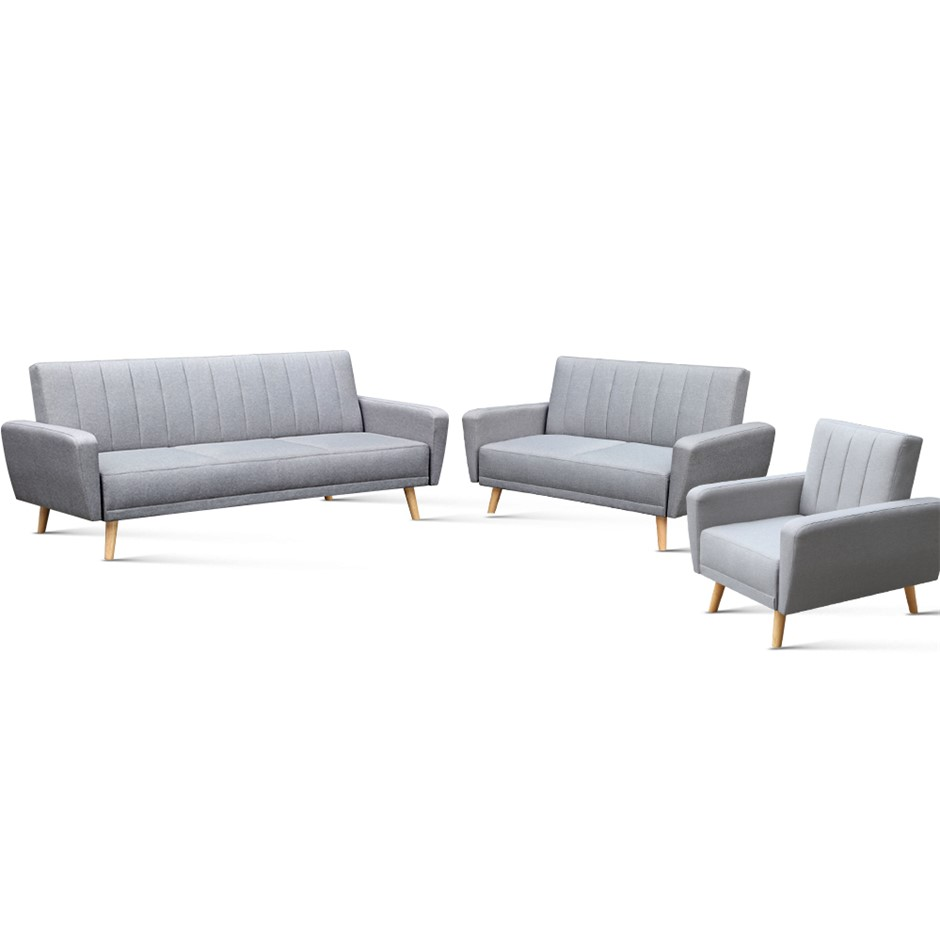 Artiss 3 Piece Lounge Suite - Grey