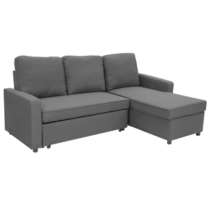 super popular 398ae 01c18 3-Seater Corner Sofa Bed With Storage Lounge Chaise Couch - Grey