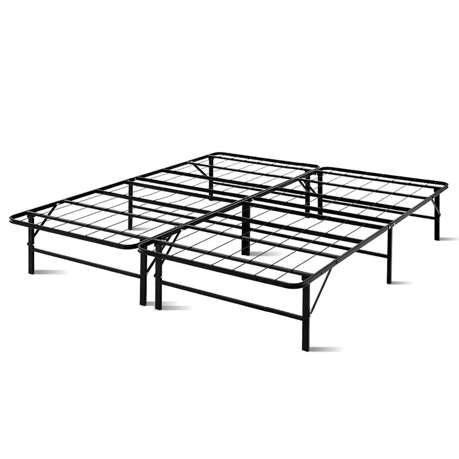 Artiss Foldable King Metal Bed Frame - Black