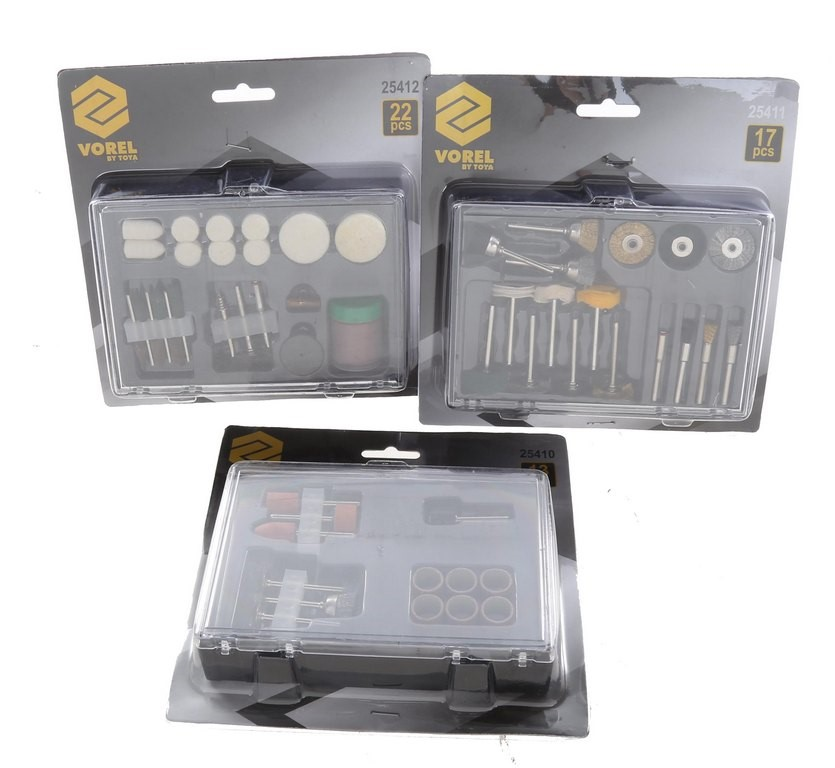 3 x VOREL 22pc Mini Grinder Accessory Sets. Buyers Note - Discount Freight