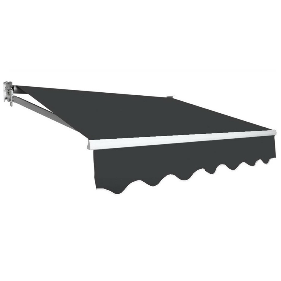 Outdoor Folding Arm Awning Retractable Sunshade Canopy Grey 5.0m x 3.0m