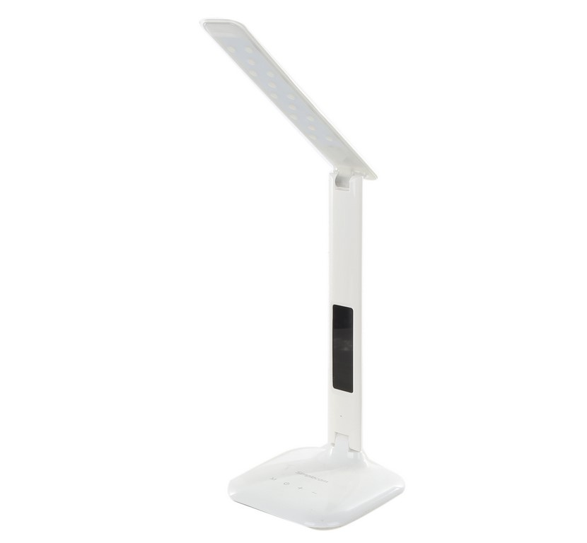 SIMPLECOM LED Desk Lamp with Digital Clock, EL808, White. N.B. Has been use
