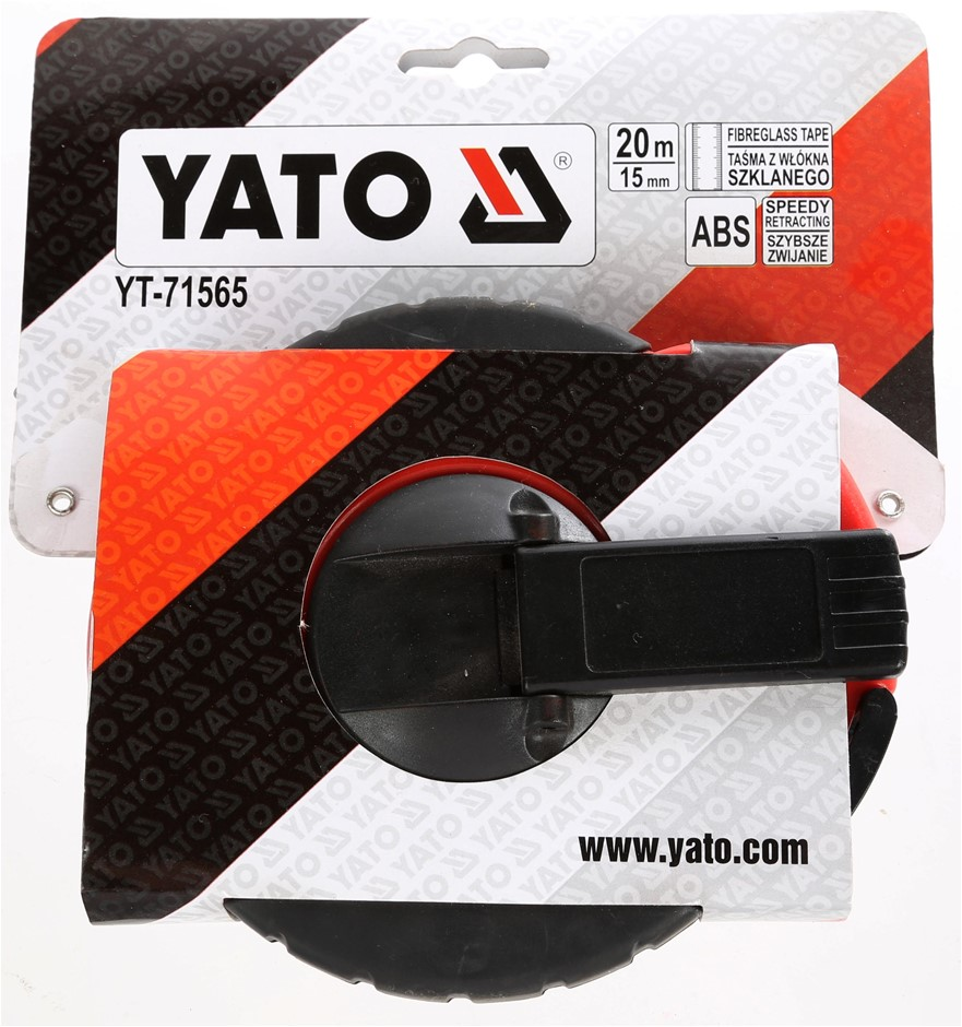 2 x YATO 20M x 15mm Fibreglass Tapes Measure, ABS Body, Speed Retractable.