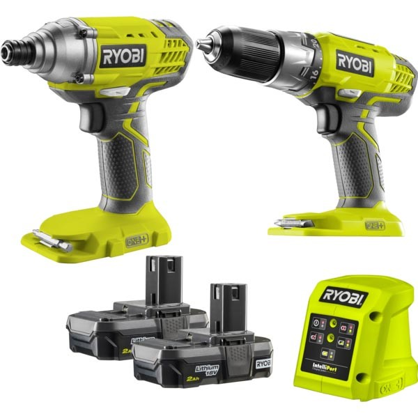RYOBI 2pc 18V Drill Driver & Impact Driver Kit c/w 2 x Batteries, Charger &