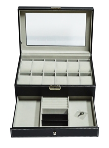 12 Grids Watch Display Case Leather jewe