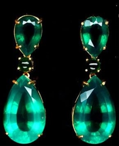 5a68cb4a27dd0 Magnificent Large Yellow Gold Emerald Drop Earrings.