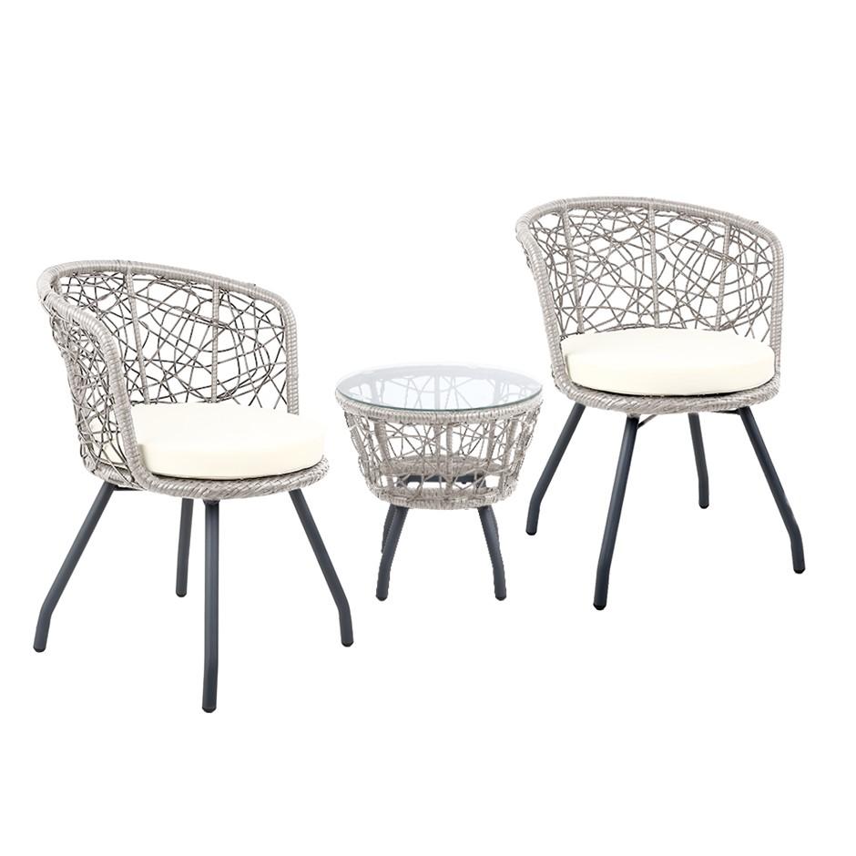Gardeon Outdoor Patio Chair and Table - Grey