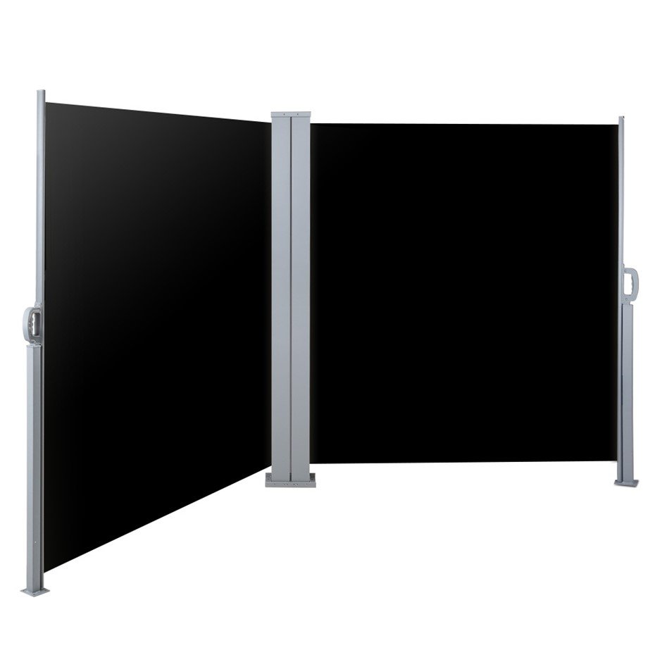 Instahut 2MX6M Retractable Double Side Awning Privacy Screen Shade Black