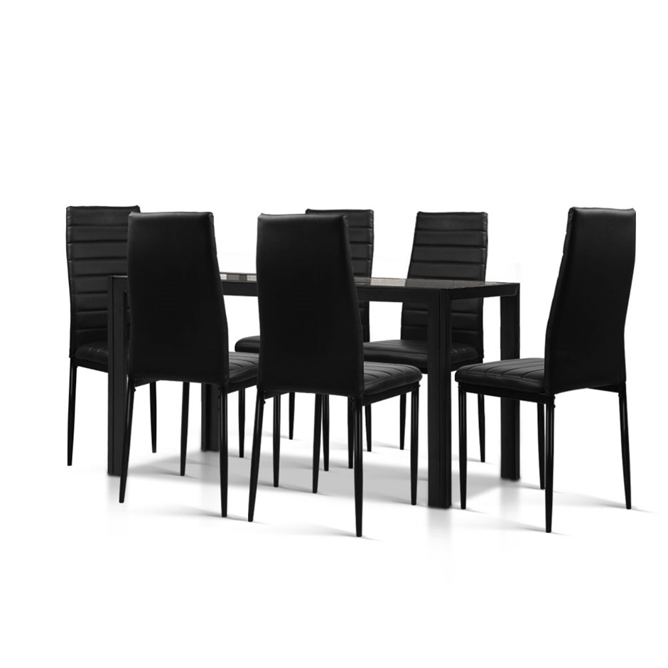 7-Piece Set Dining Table and 6 Chairs Sets Glass Leather Seater Black
