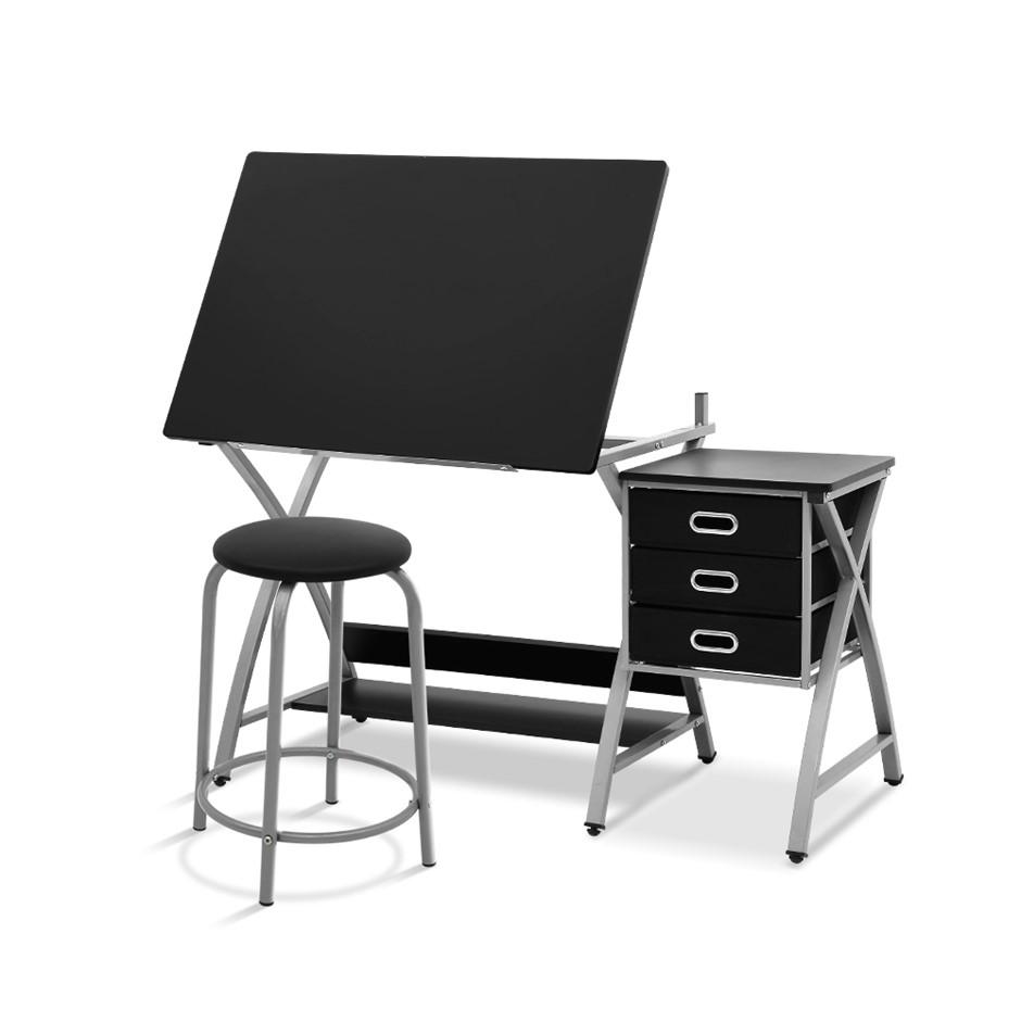 Drawing Drafting Table Craft Adjustable Glass Art Tilt Drawers Silver Metal