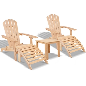 Gardeon 5pc Outdoor Beach Chair Table Wo