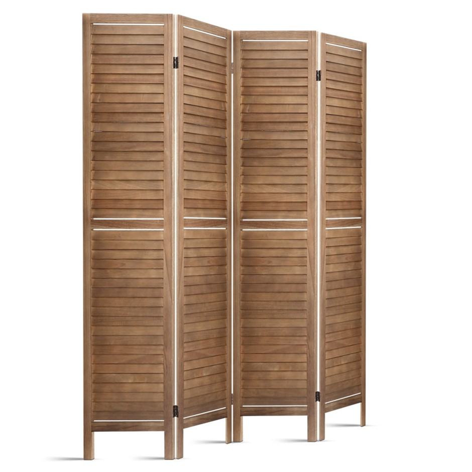 4 Panel Room Divider Screen Privacy Foldable Timber Wood Timber Stand