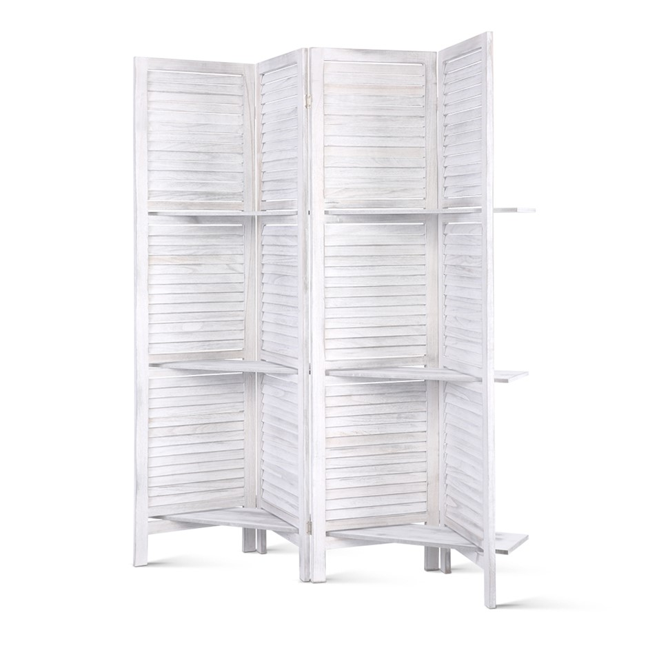 4 Panel Room Divider Screen Privacy Foldable Shelf Wooden White Stand