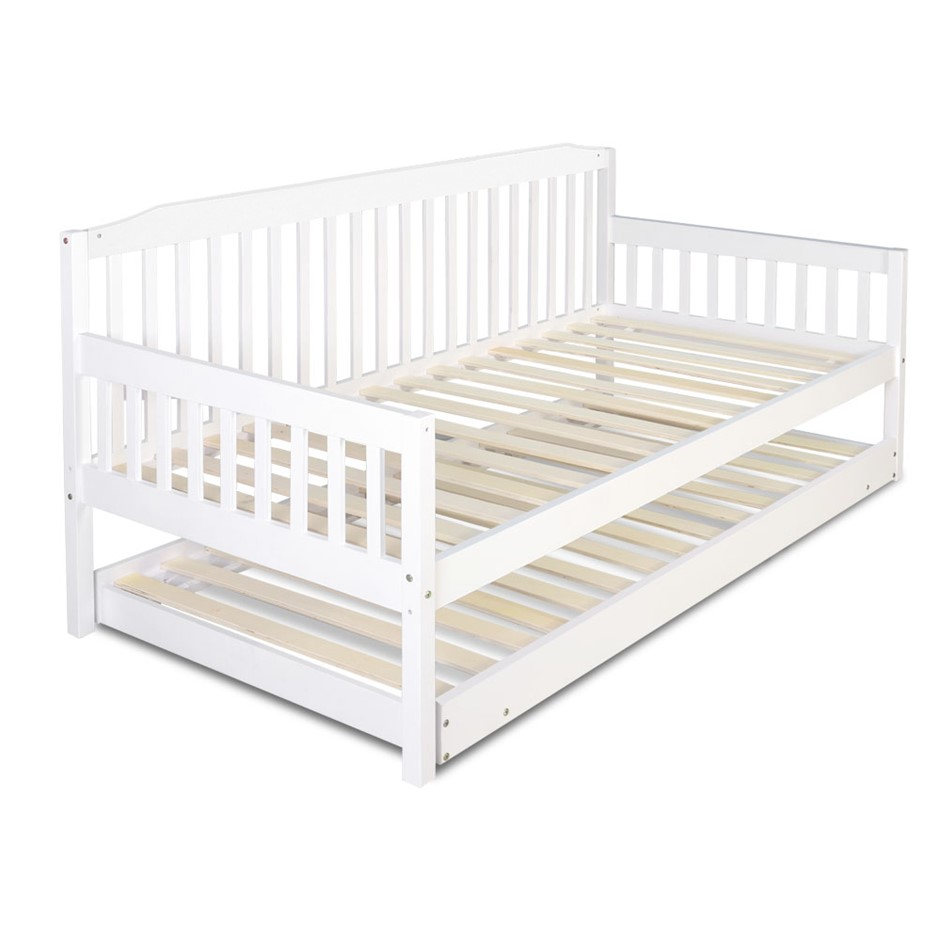 Artiss Single Wooden Timber Sofa Trundle Bed Frame FISHER Mattress Kids