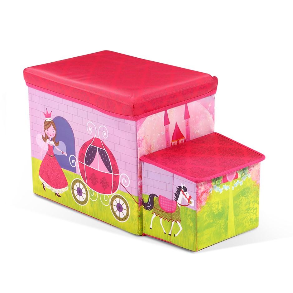 Kids Toy Box Foldable Stool Ottoman Chair Children Chest Organiser Pink