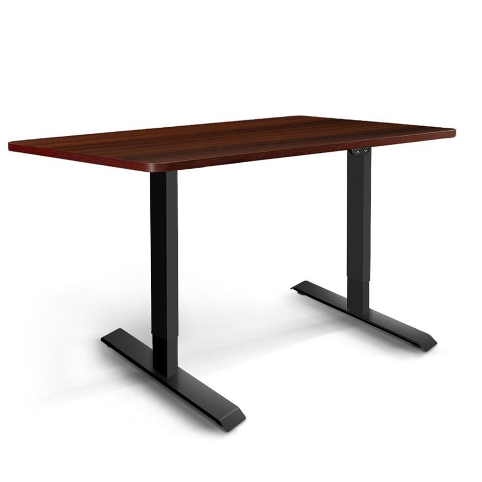 Artiss Motorised Electric Height Adjustable Standing Desk Black Walnut